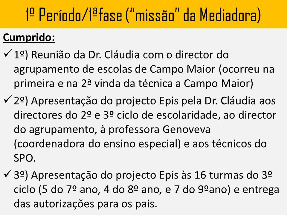 """1º Período/1ªfase (""""missão"""" da Mediadora) Cumprido: 1º) Reunião da Dr. Cláudia com o director do agrupamento de escolas de Campo Maior (ocorreu na pri"""