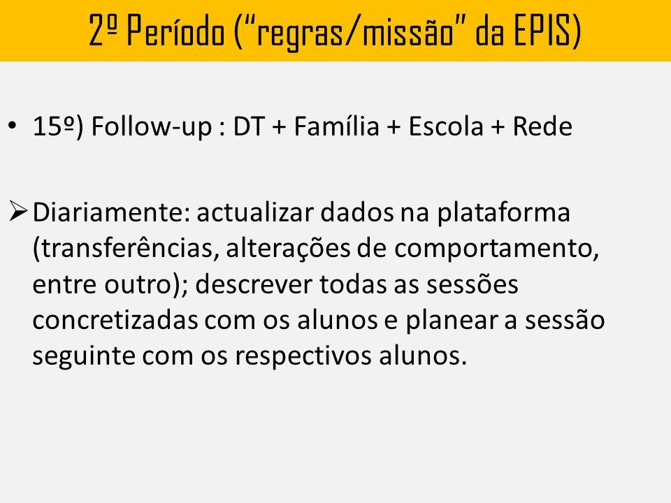 2º Período ( regras/missão da EPIS) 15º) Follow-up : DT + Família + Escola + Rede  Diariamente: actualizar dados na plataforma (transferências, alterações de comportamento, entre outro); descrever todas as sessões concretizadas com os alunos e planear a sessão seguinte com os respectivos alunos.