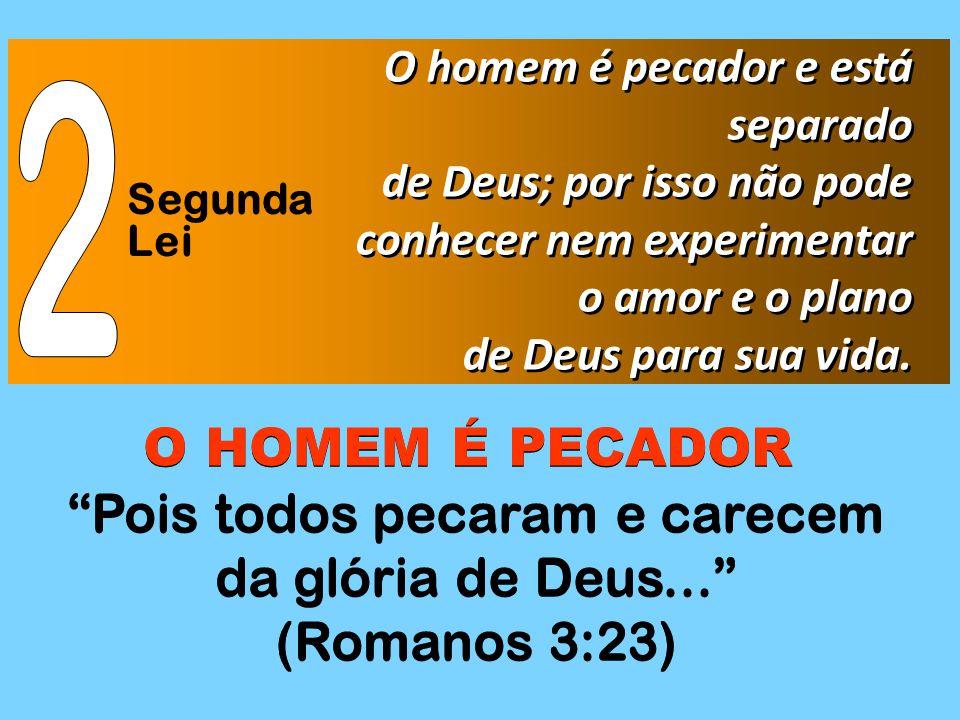 Segunda Lei O homem é pecador e está separado de Deus; por isso não pode conhecer nem experimentar o amor e o plano de Deus para sua vida. O homem é p