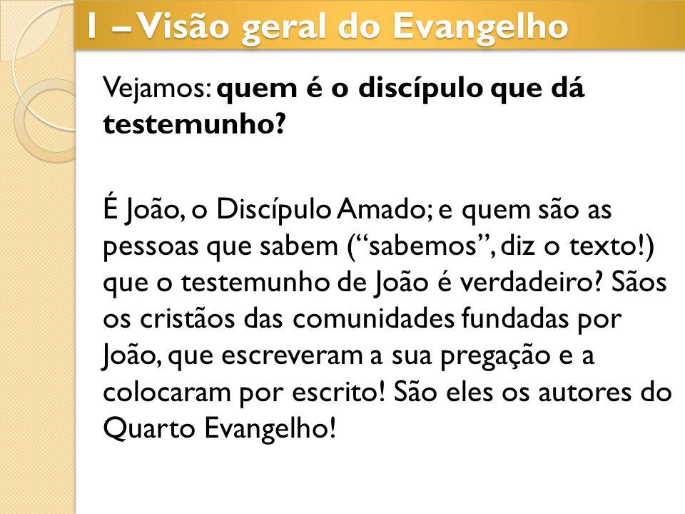 """1 – Visão geral do Evangelho Vejamos: quem é o discípulo que dá testemunho? É João, o Discípulo Amado; e quem são as pessoas que sabem (""""sabemos"""", diz"""