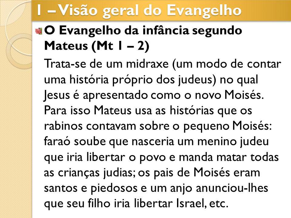 O Evangelho da infância segundo Mateus (Mt 1 – 2) Trata-se de um midraxe (um modo de contar uma história próprio dos judeus) no qual Jesus é apresenta