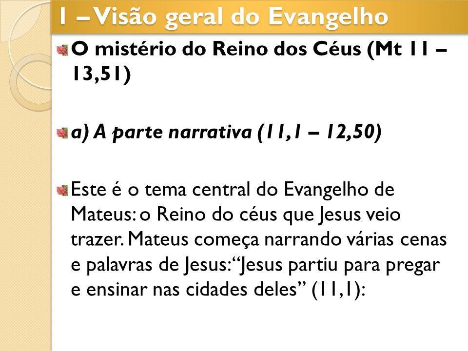 O mistério do Reino dos Céus (Mt 11 – 13,51) a) A parte narrativa (11,1 – 12,50) Este é o tema central do Evangelho de Mateus: o Reino do céus que Jes