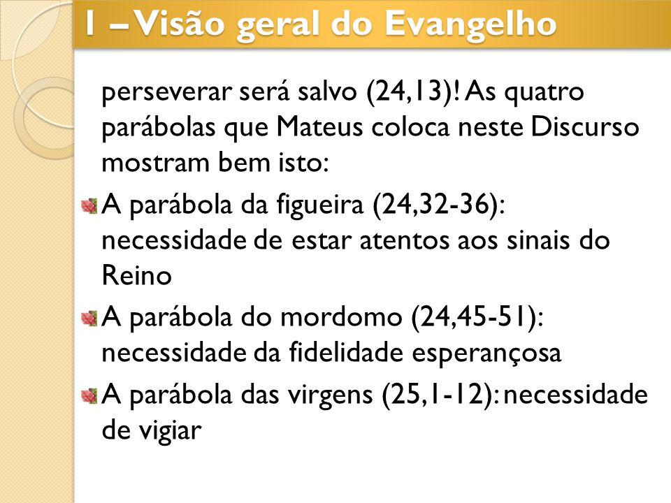 perseverar será salvo (24,13)! As quatro parábolas que Mateus coloca neste Discurso mostram bem isto: A parábola da figueira (24,32-36): necessidade d