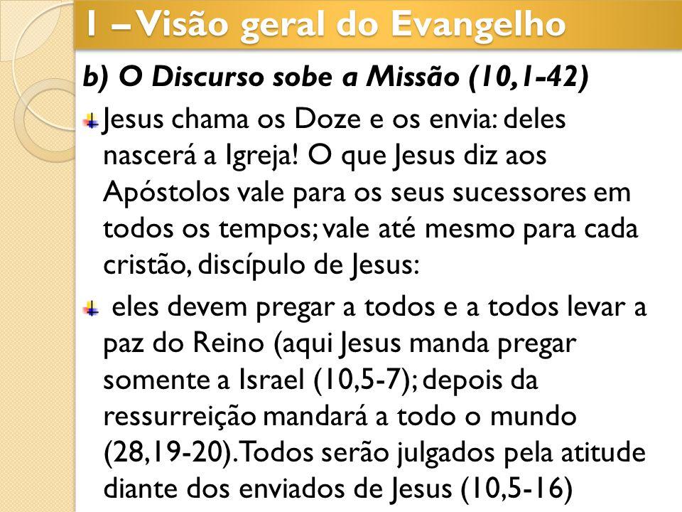 b) O Discurso sobe a Missão (10,1-42) Jesus chama os Doze e os envia: deles nascerá a Igreja! O que Jesus diz aos Apóstolos vale para os seus sucessor
