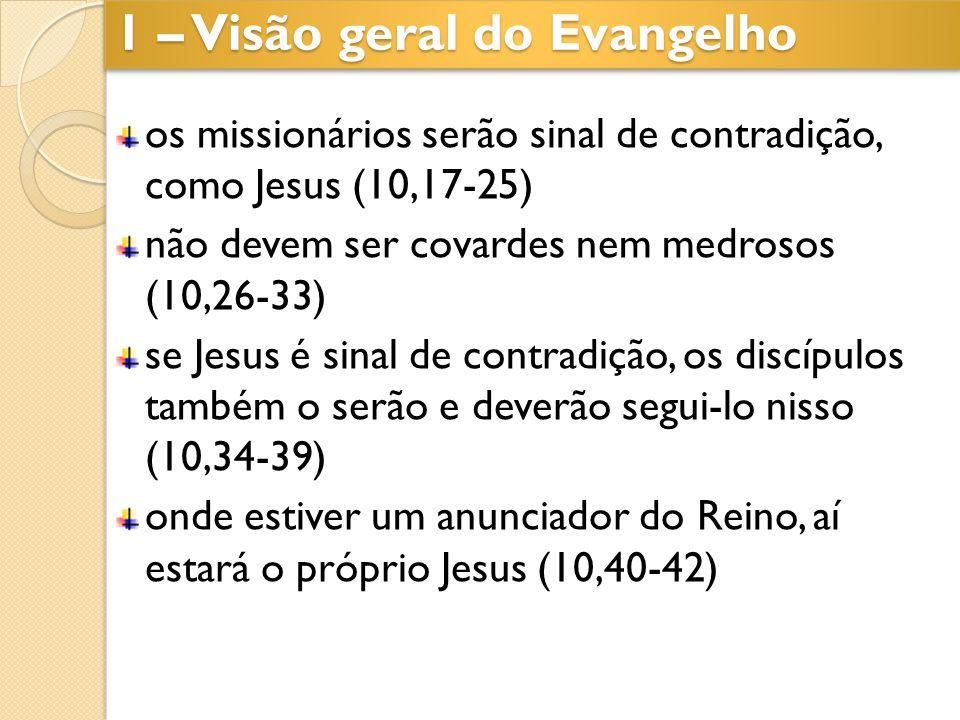 os missionários serão sinal de contradição, como Jesus (10,17-25) não devem ser covardes nem medrosos (10,26-33) se Jesus é sinal de contradição, os d