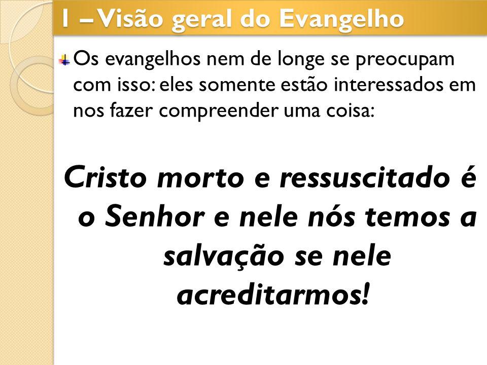 1 – Visão geral do Evangelho Os evangelhos nem de longe se preocupam com isso: eles somente estão interessados em nos fazer compreender uma coisa: Cri