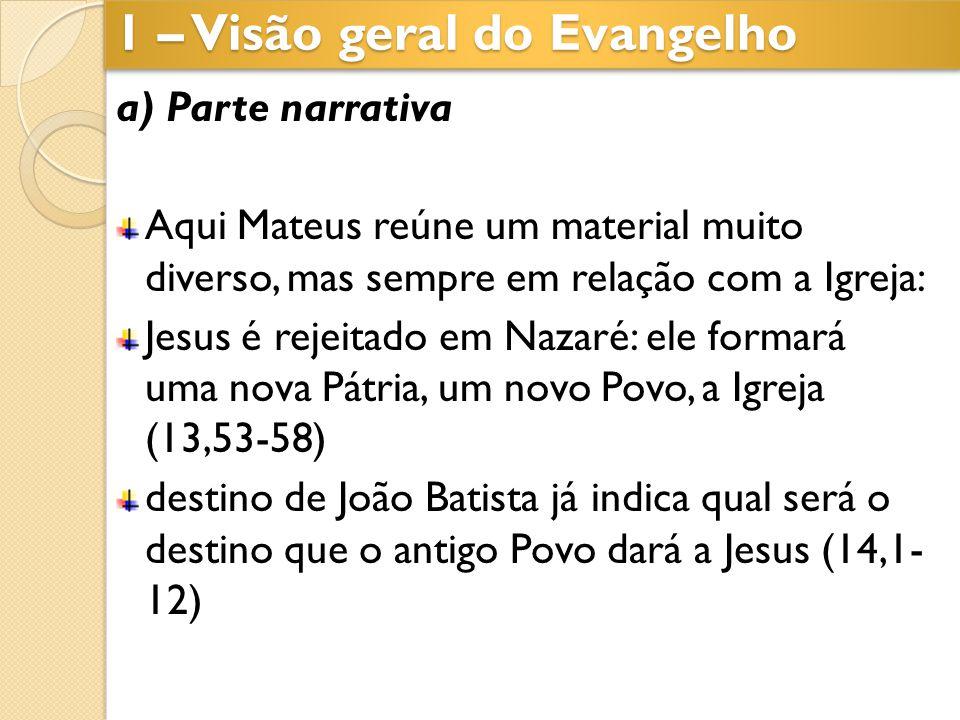 a) Parte narrativa Aqui Mateus reúne um material muito diverso, mas sempre em relação com a Igreja: Jesus é rejeitado em Nazaré: ele formará uma nova