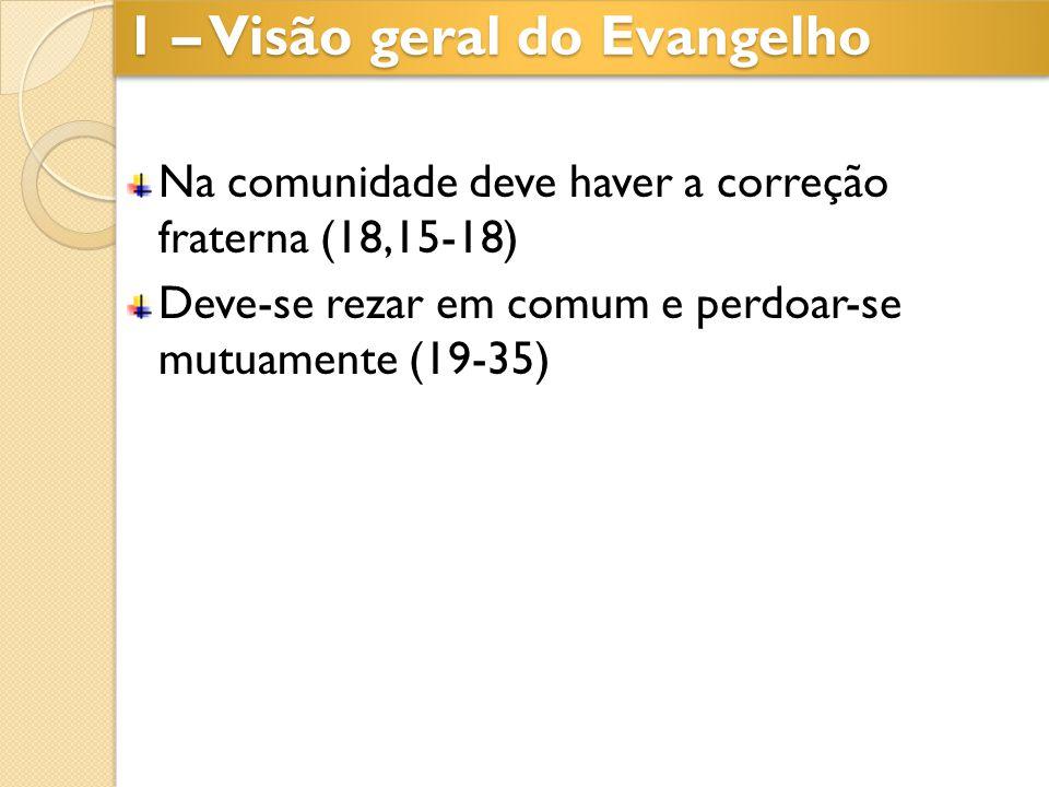 Na comunidade deve haver a correção fraterna (18,15-18) Deve-se rezar em comum e perdoar-se mutuamente (19-35) 1 – Visão geral do Evangelho