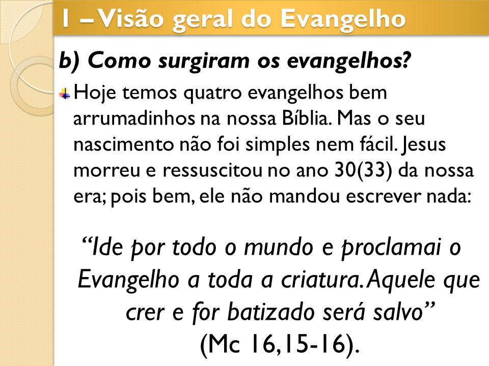 1 – Visão geral do Evangelho b) Como surgiram os evangelhos? Hoje temos quatro evangelhos bem arrumadinhos na nossa Bíblia. Mas o seu nascimento não f