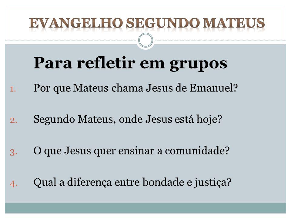 Para refletir em grupos 1. Por que Mateus chama Jesus de Emanuel? 2. Segundo Mateus, onde Jesus está hoje? 3. O que Jesus quer ensinar a comunidade? 4