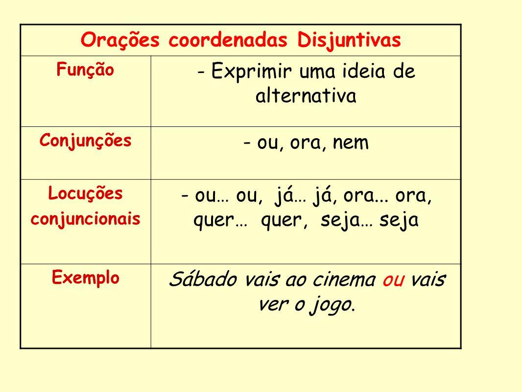 Orações coordenadas Disjuntivas Função - Exprimir uma ideia de alternativa Conjunções - ou, ora, nem Locuções conjuncionais - ou… ou, já… já, ora... o