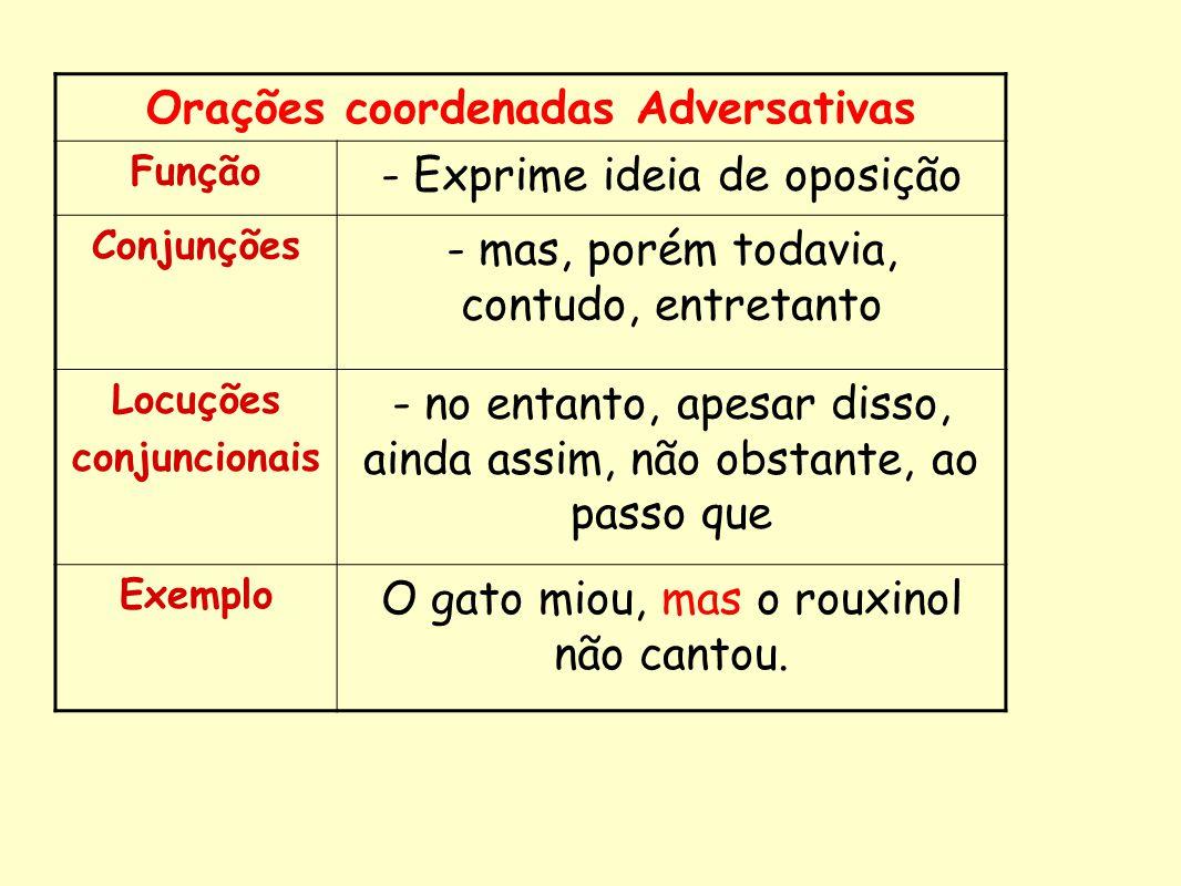 Orações coordenadas Adversativas Função - Exprime ideia de oposição Conjunções - mas, porém todavia, contudo, entretanto Locuções conjuncionais - no e