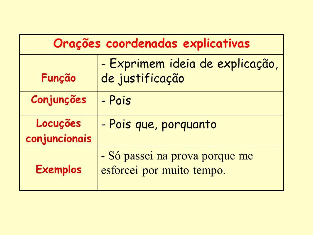 Orações coordenadas explicativas Função - Exprimem ideia de explicação, de justificação Conjunções - Pois Locuções conjuncionais - Pois que, porquanto