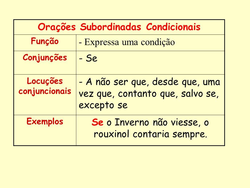 Orações Subordinadas Condicionais Função - Expressa uma condição Conjunções - Se Locuções conjuncionais - A não ser que, desde que, uma vez que, conta