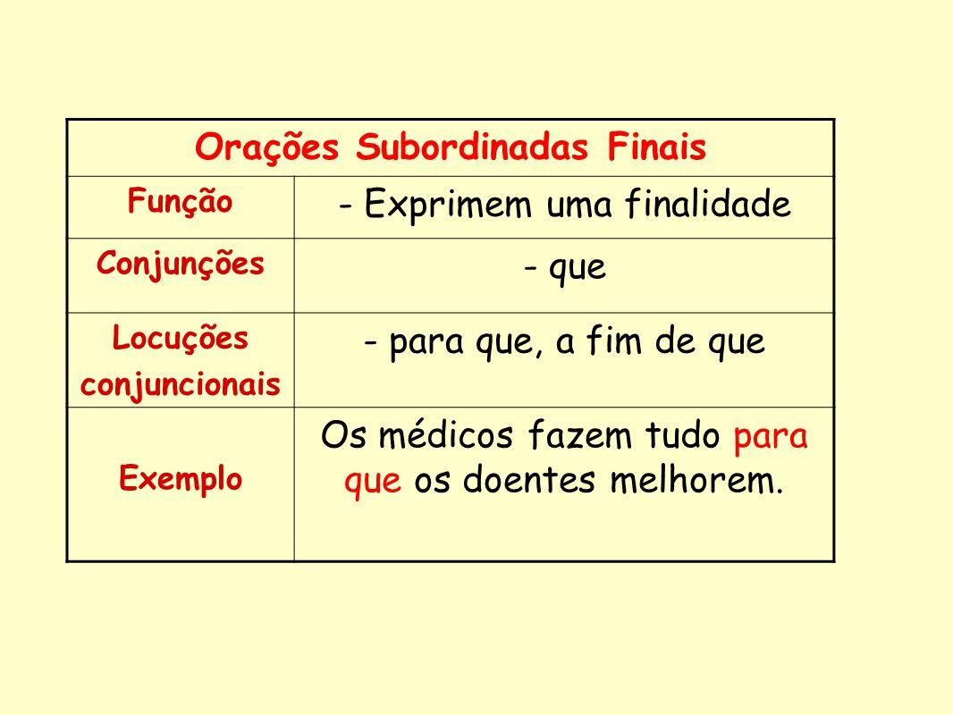 Orações Subordinadas Finais Função - Exprimem uma finalidade Conjunções - que Locuções conjuncionais - para que, a fim de que Exemplo Os médicos fazem