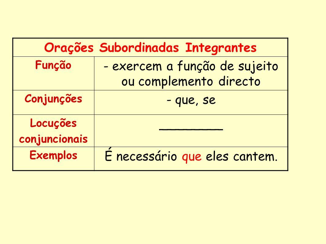 Orações Subordinadas Integrantes Função - exercem a função de sujeito ou complemento directo Conjunções - que, se Locuções conjuncionais ________ Exem