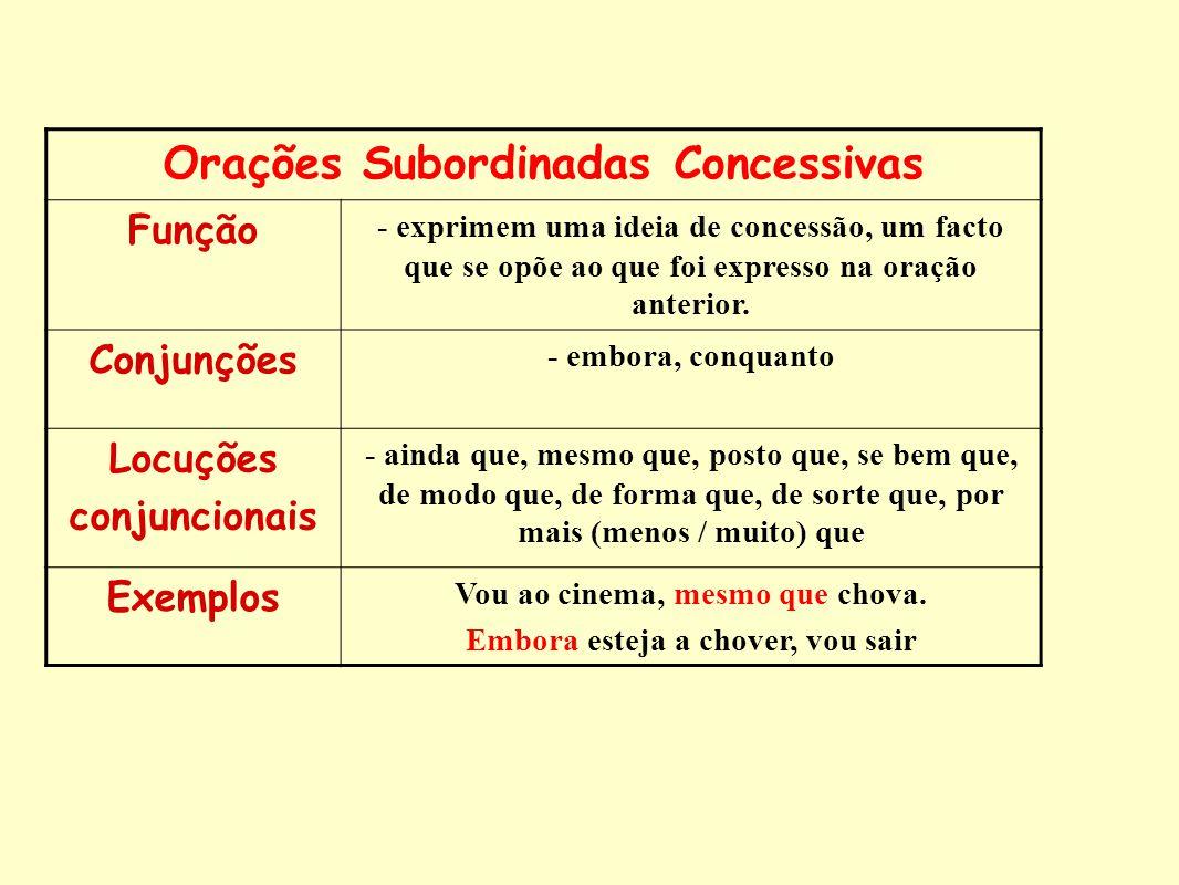 Orações Subordinadas Concessivas Função - exprimem uma ideia de concessão, um facto que se opõe ao que foi expresso na oração anterior. Conjunções - e