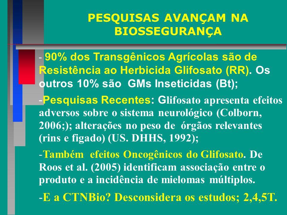 PESQUISAS AVANÇAM NA BIOSSEGURANÇA - 90% dos Transgênicos Agrícolas são de Resistência ao Herbicida Glifosato (RR).