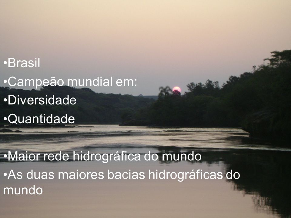 Hidrografia brasileira Brasil Campeão mundial em: Diversidade Quantidade Maior rede hidrográfica do mundo As duas maiores bacias hidrográficas do mund