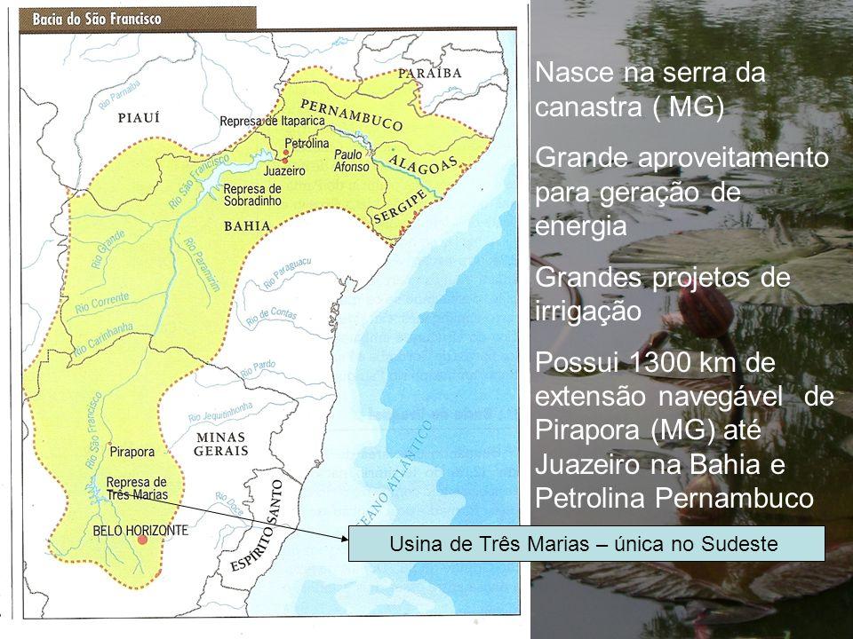 Nasce na serra da canastra ( MG) Grande aproveitamento para geração de energia Grandes projetos de irrigação Possui 1300 km de extensão navegável de P
