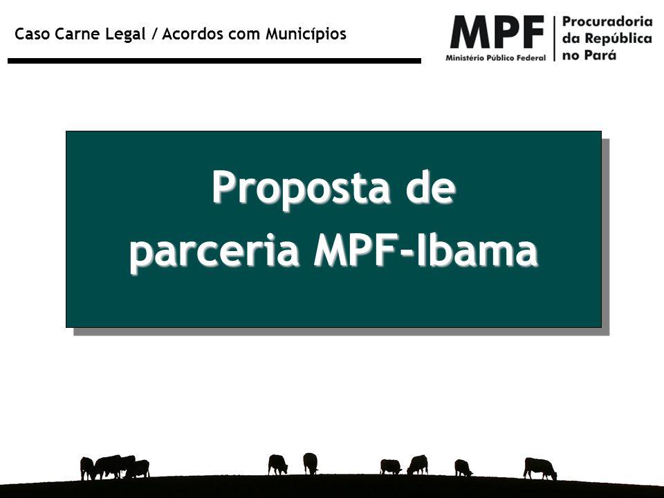 Caso Carne Legal / Acordos com Municípios Proposta de parceria MPF-Ibama