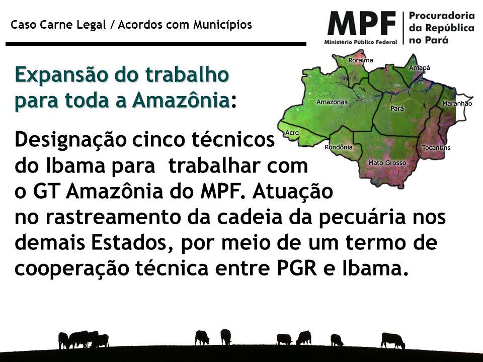 Caso Carne Legal / Acordos com Municípios Expansão do trabalho para toda a Amazônia Expansão do trabalho para toda a Amazônia: Designação cinco técnic