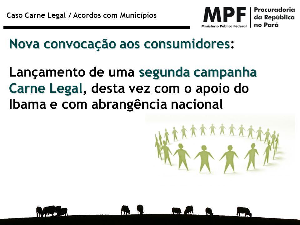 Caso Carne Legal / Acordos com Municípios Nova convocação aos consumidores Nova convocação aos consumidores: segunda campanha Carne Legal Lançamento d