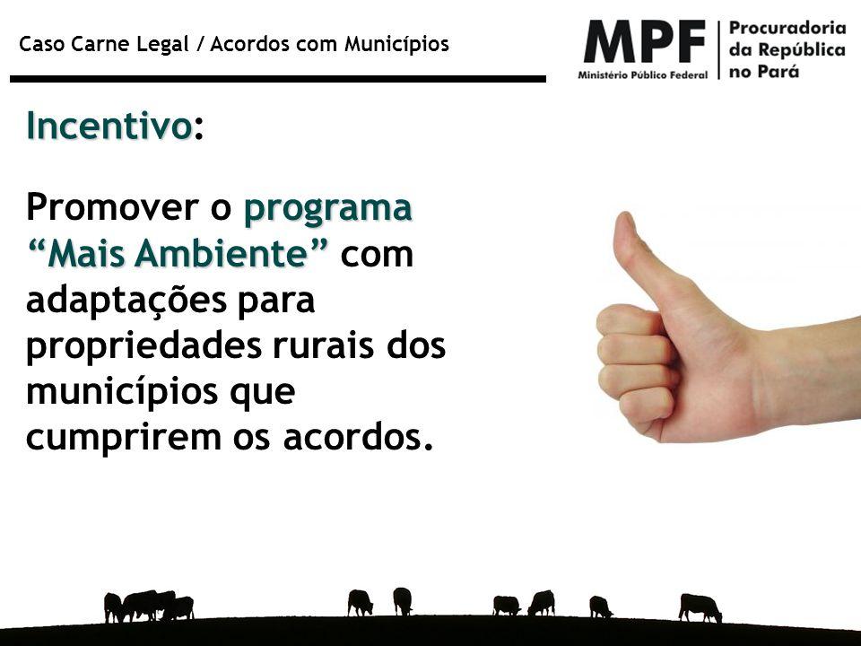 """Caso Carne Legal / Acordos com Municípios Incentivo Incentivo: programa """"Mais Ambiente"""" Promover o programa """"Mais Ambiente"""" com adaptações para propri"""