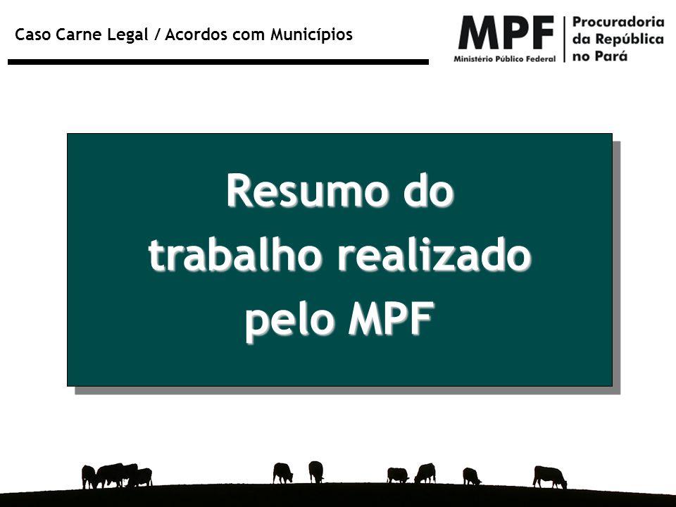 Caso Carne Legal / Acordos com Municípios Resumo do trabalho realizado pelo MPF