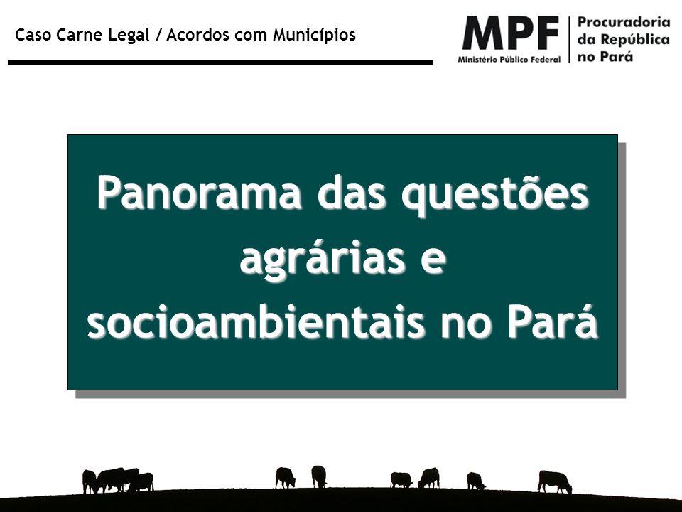 Caso Carne Legal / Acordos com Municípios Panorama das questões agrárias e socioambientais no Pará
