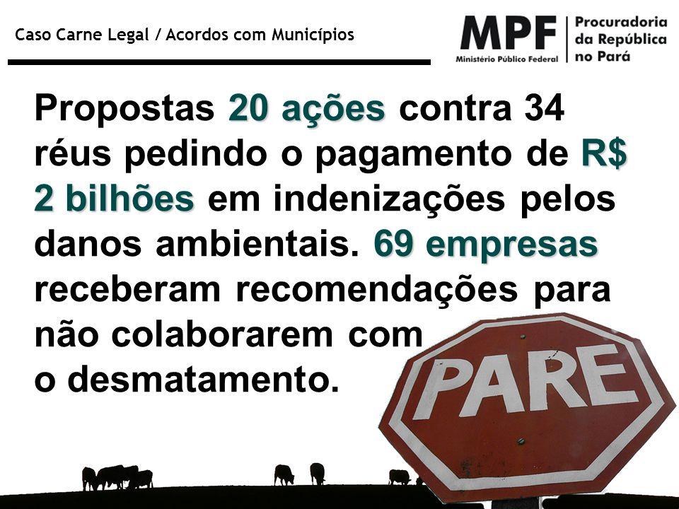 Caso Carne Legal / Acordos com Municípios 20 ações R$ 2 bilhões 69 empresas Propostas 20 ações contra 34 réus pedindo o pagamento de R$ 2 bilhões em i