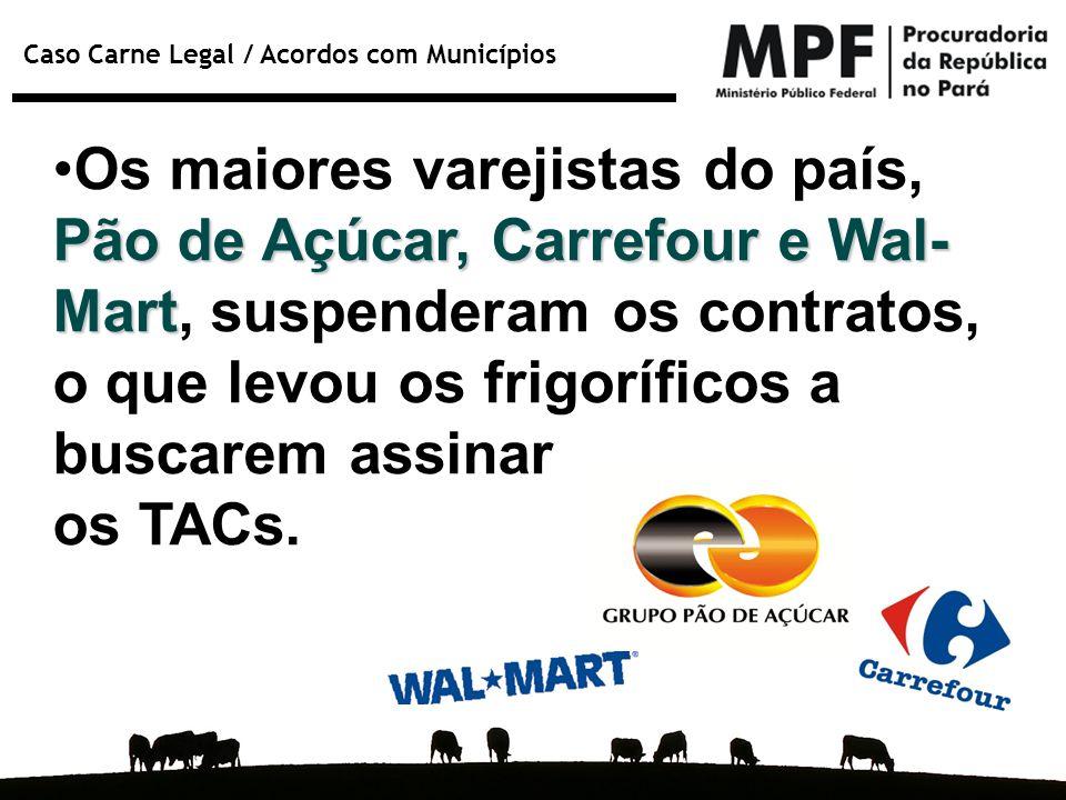 Caso Carne Legal / Acordos com Municípios Pão de Açúcar, Carrefour e Wal- MartOs maiores varejistas do país, Pão de Açúcar, Carrefour e Wal- Mart, sus