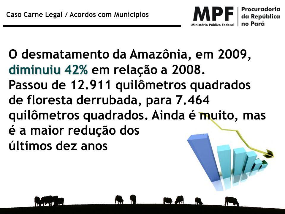 Caso Carne Legal / Acordos com Municípios diminuiu 42% O desmatamento da Amazônia, em 2009, diminuiu 42% em relação a 2008. Passou de 12.911 quilômetr