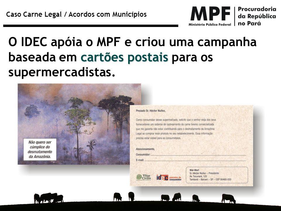 Caso Carne Legal / Acordos com Municípios cartões postais O IDEC apóia o MPF e criou uma campanha baseada em cartões postais para os supermercadistas.