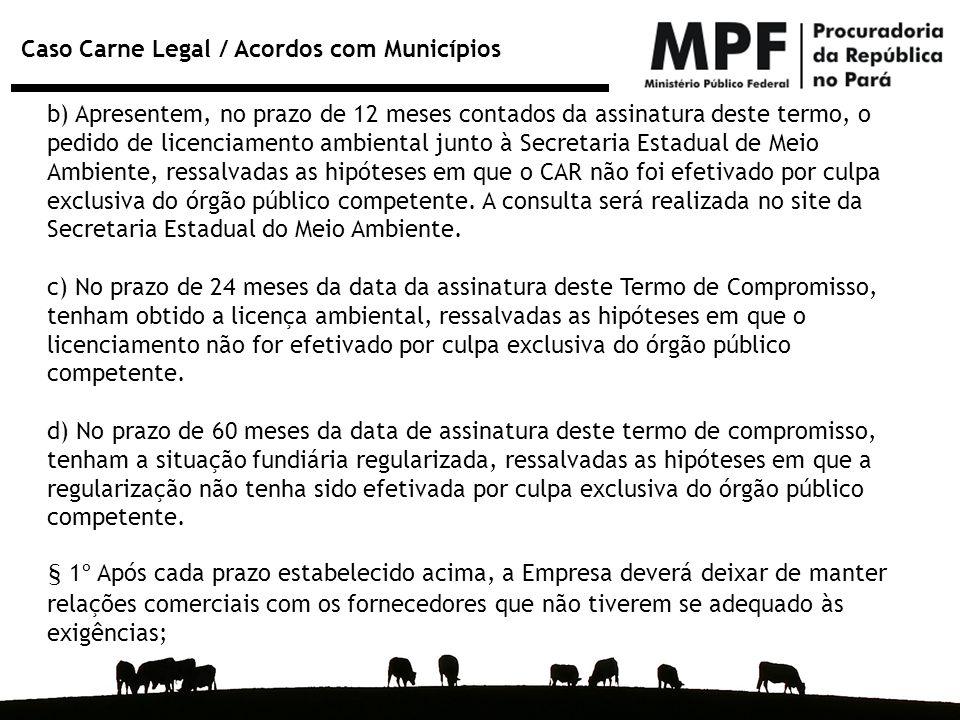 Caso Carne Legal / Acordos com Municípios b) Apresentem, no prazo de 12 meses contados da assinatura deste termo, o pedido de licenciamento ambiental
