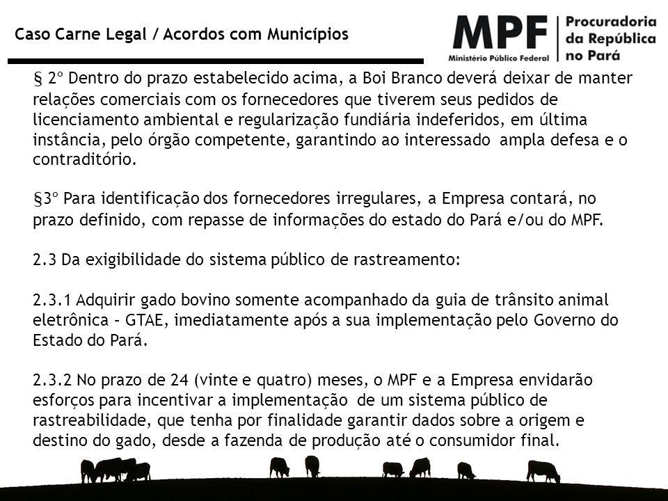 Caso Carne Legal / Acordos com Municípios § 2º Dentro do prazo estabelecido acima, a Boi Branco deverá deixar de manter relações comerciais com os for