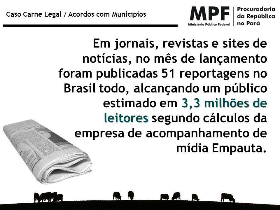 Caso Carne Legal / Acordos com Municípios 3,3 milhões de leitores Em jornais, revistas e sites de notícias, no mês de lançamento foram publicadas 51 r