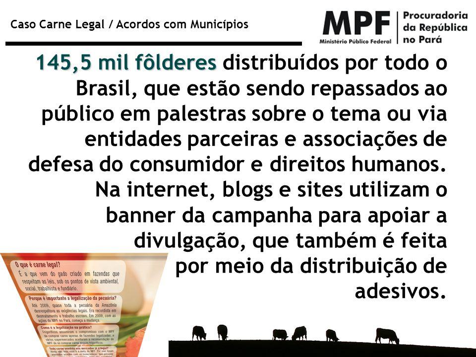 Caso Carne Legal / Acordos com Municípios 145,5 mil fôlderes 145,5 mil fôlderes distribuídos por todo o Brasil, que estão sendo repassados ao público