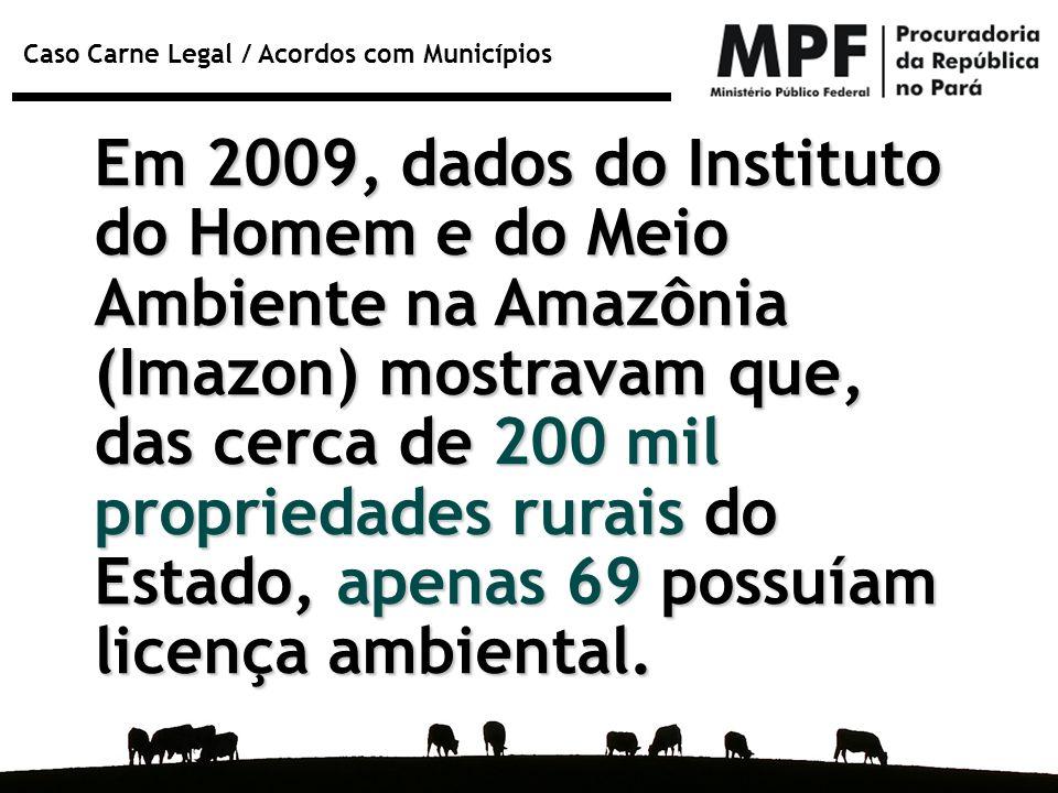 Caso Carne Legal / Acordos com Municípios Rebanho bovino e nº de licenças ambientais rurais e de cadastro de imóveis rurais na Sema em 30 de junho de 2009 nos 5 municípios com maiores rebanhos do Pará em 2007