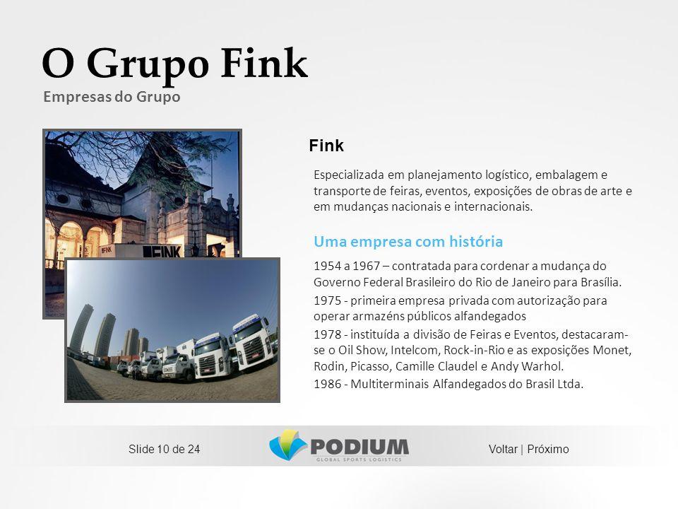Slide 10 de 24 O Grupo Fink Uma empresa com história 1954 a 1967 – contratada para cordenar a mudança do Governo Federal Brasileiro do Rio de Janeiro