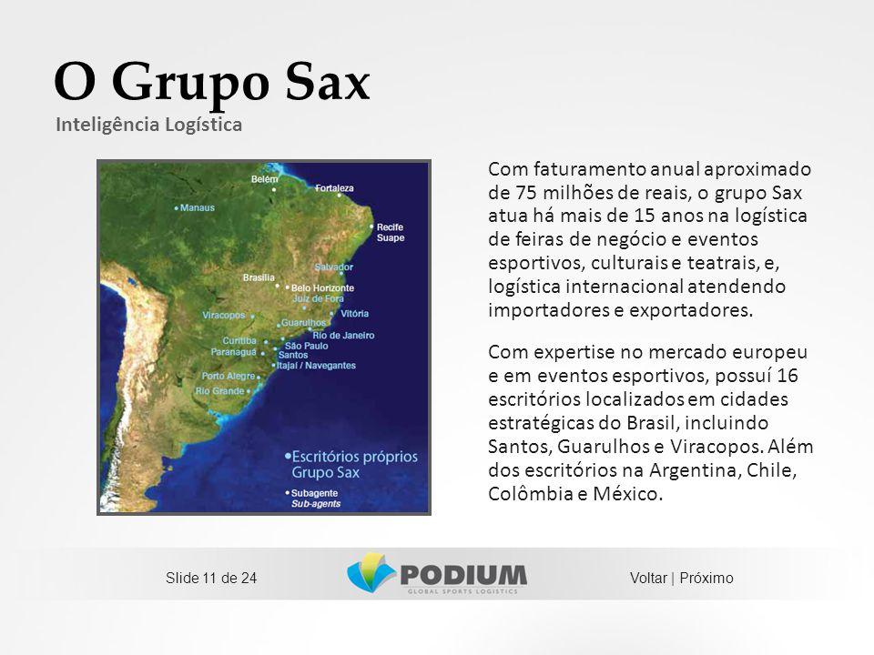 O Grupo Sax Com faturamento anual aproximado de 75 milhões de reais, o grupo Sax atua há mais de 15 anos na logística de feiras de negócio e eventos e