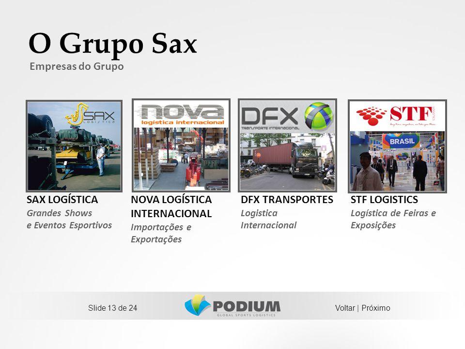 Slide 13 de 24 SAX LOGÍSTICA Grandes Shows e Eventos Esportivos NOVA LOGÍSTICA INTERNACIONAL Importações e Exportações DFX TRANSPORTES Logistica Inter