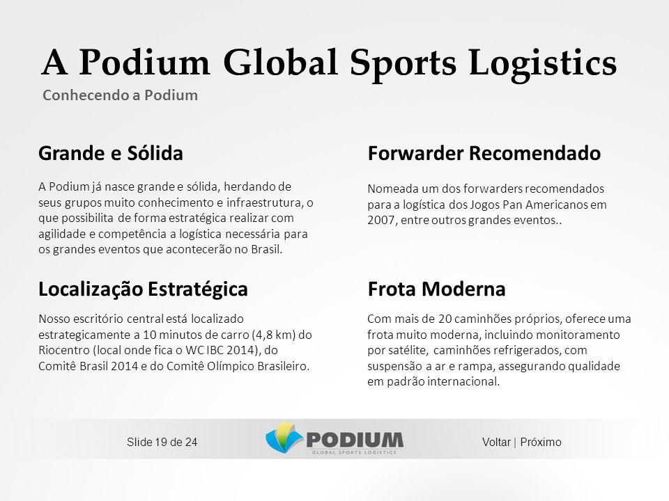 A Podium Global Sports Logistics Slide 19 de 24 Conhecendo a Podium A Podium já nasce grande e sólida, herdando de seus grupos muito conhecimento e in
