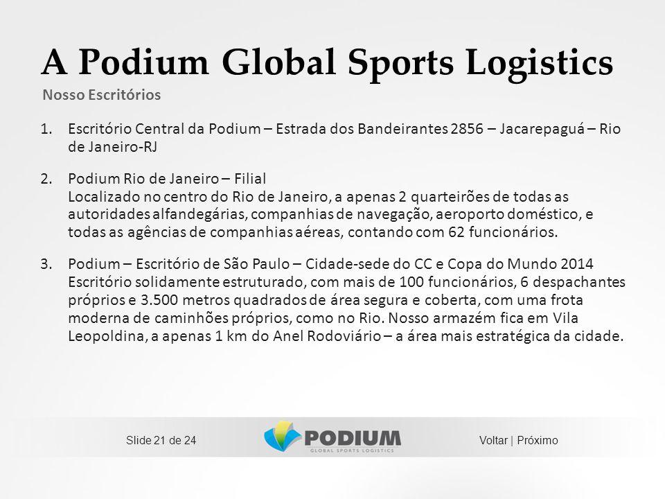 A Podium Global Sports Logistics 1.Escritório Central da Podium – Estrada dos Bandeirantes 2856 – Jacarepaguá – Rio de Janeiro-RJ 2.Podium Rio de Jane