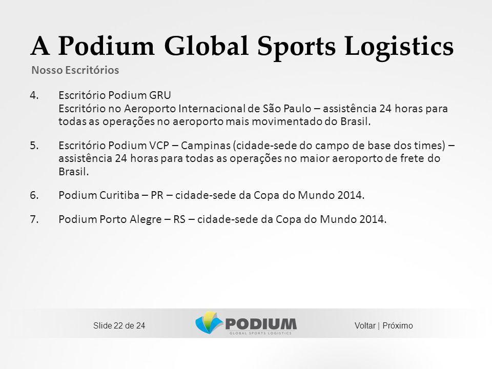 A Podium Global Sports Logistics 4.Escritório Podium GRU Escritório no Aeroporto Internacional de São Paulo – assistência 24 horas para todas as opera