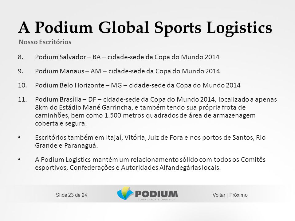 A Podium Global Sports Logistics 8.Podium Salvador – BA – cidade-sede da Copa do Mundo 2014 9.Podium Manaus – AM – cidade-sede da Copa do Mundo 2014 1