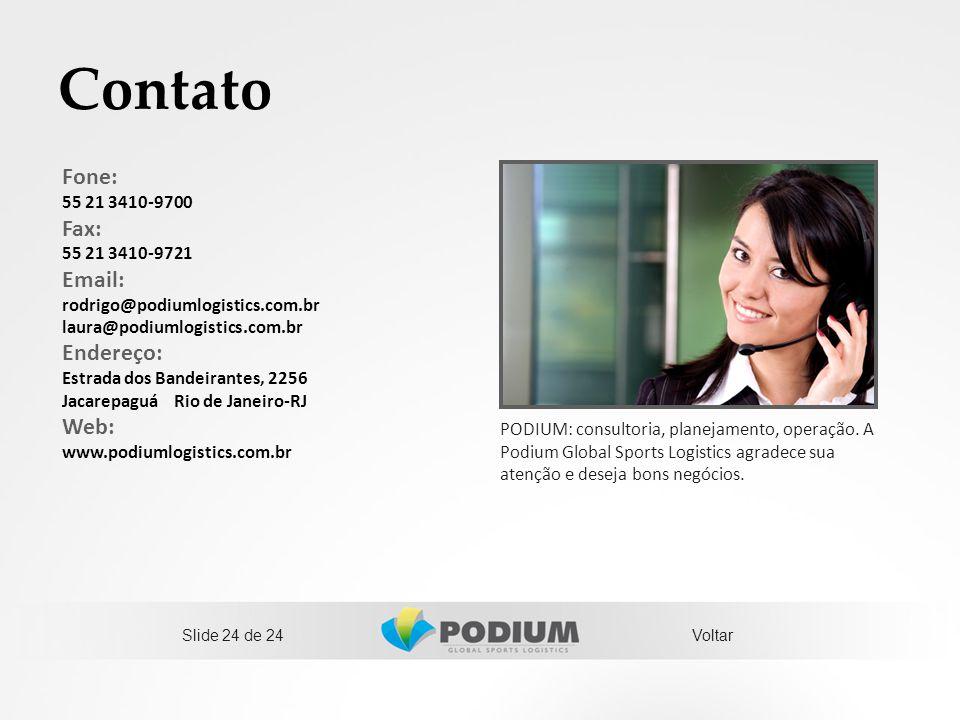 Contato PODIUM: consultoria, planejamento, operação. A Podium Global Sports Logistics agradece sua atenção e deseja bons negócios. Fone: 55 21 3410-97