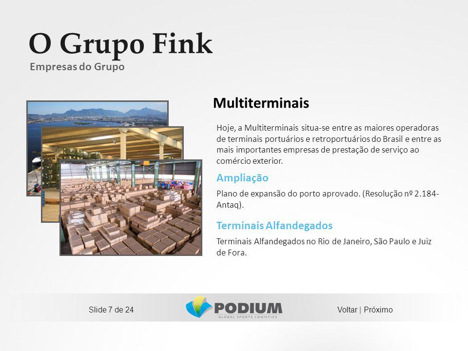 Slide 7 de 24 O Grupo Fink Ampliação Plano de expansão do porto aprovado. (Resolução nº 2.184- Antaq). Empresas do Grupo Hoje, a Multiterminais situa-