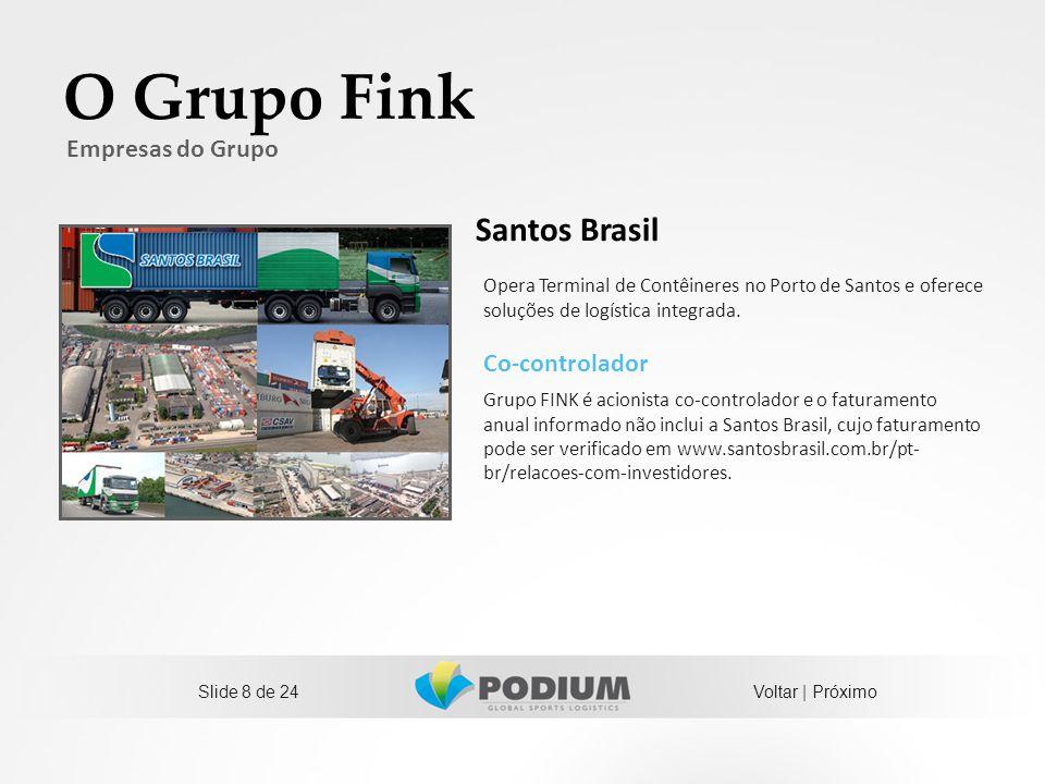 Slide 8 de 24 O Grupo Fink Co-controlador Grupo FINK é acionista co-controlador e o faturamento anual informado não inclui a Santos Brasil, cujo fatur