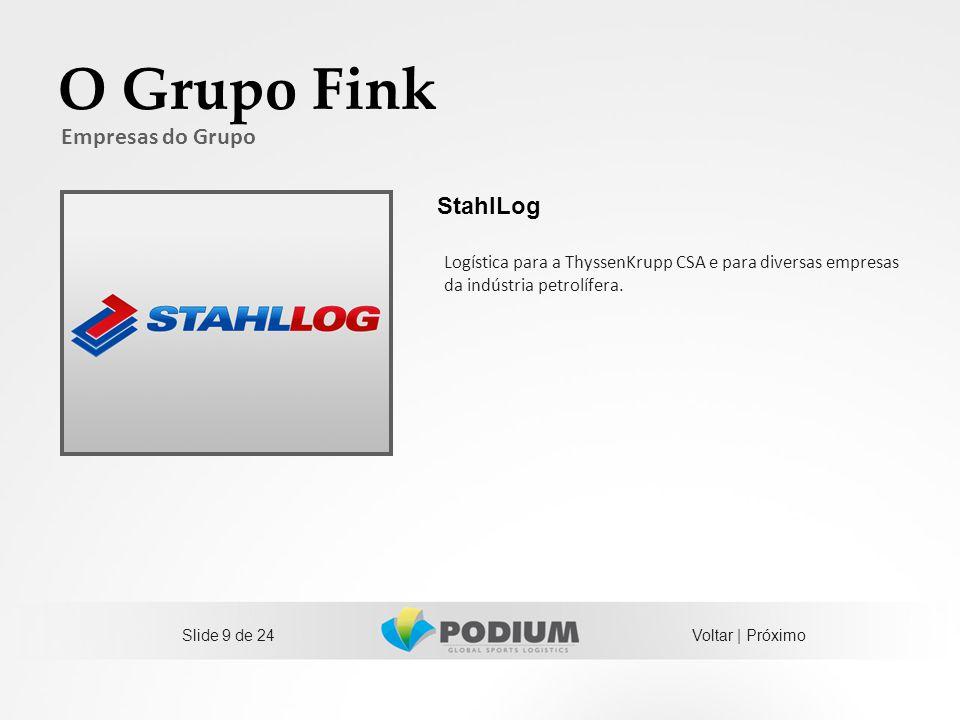 Slide 9 de 24 O Grupo Fink Empresas do Grupo Logística para a ThyssenKrupp CSA e para diversas empresas da indústria petrolífera. StahlLog Voltar | Pr